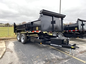 Dump Trailer 7x14 14k GVWR  Dump Trailer 7x14 14k GVWR. Tube frame, seamless floor, tarp kit, power up and power down dual cylinders, 7,000 pound 8 lug axles, and rear stabilizer jacks.